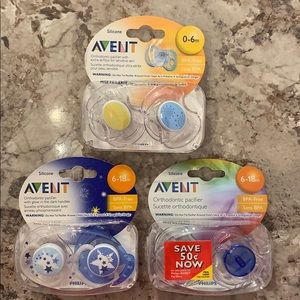 Avent Pacifiers (two 0-6 mos and four 6-18 mos)